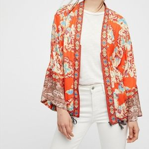 Free People Floral Front Zip Kimono Jacket